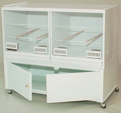 Montana Breeders Cage White w/Cabinet x2 - notað!