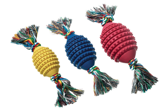 Boomer Rubber Football w/Rope 9,5cm