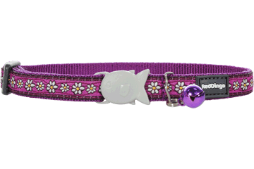 Red Dingo Cat Collar - Daisy Chain Purple