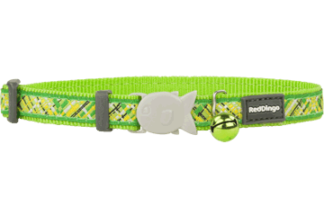 Red Dingo Cat Collar - Flanno Lime Green