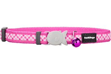 Red Dingo Cat Collar - Gingham Hot Pink