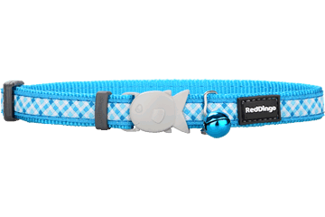 Red Dingo Cat Collar - Gingham Turquoise
