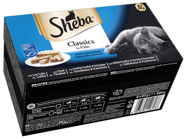 Sheba Fish Classics in Pate Wet Food - 8x85g