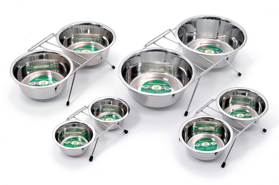 Metal Twin Feeder Bowls 2x900ml