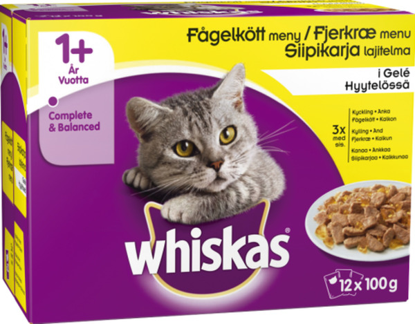 Whiskas +1 Poultry Selection in Jelly Wet Food - 12x100g