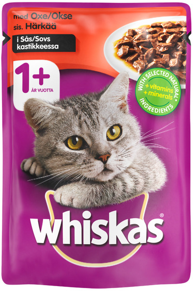 Whiskas +1 Cat Pouches w/Beef in Gravy Wet Food - 24x100g