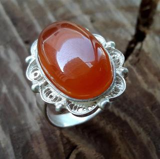 Amber Silver Ladies Ring