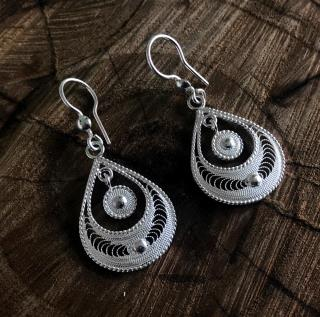 Drop Motif Silver Earrings