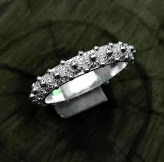 Coriander Patterned Silver Ladies Ring