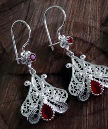 Ruby Flower Motif Silver Earrings