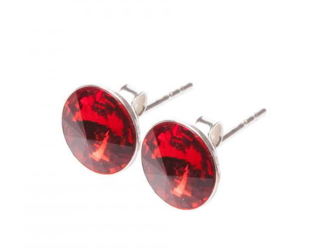 Round Earrings – Royal Red