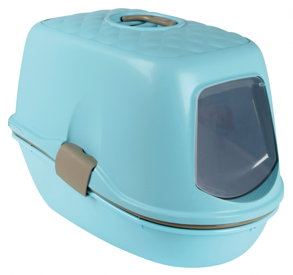 Berto Top Cat Litter Tray - Turquoise Blue/Grey