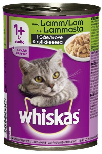 Whiskas +1 Cans w/Lamb in Gravy Wet Food - 6x400g