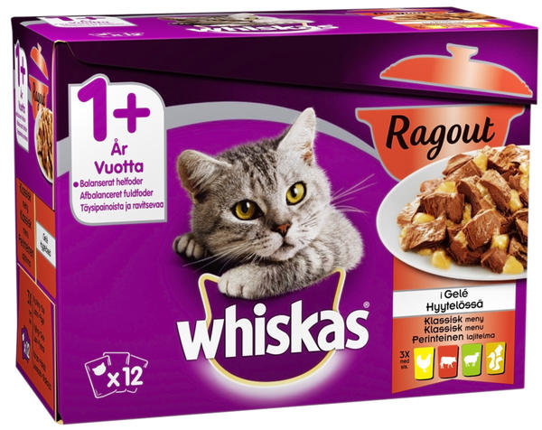 Whiskas +1 Ragout Selection in Jelly Wet Food - 12x85g