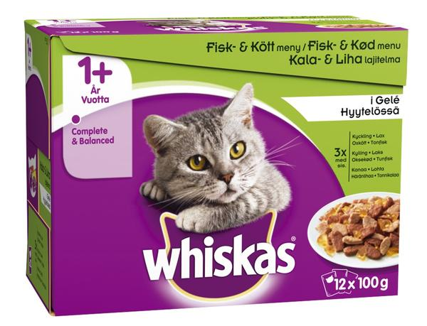 Whiskas +1 Fish & Meaty Selection in Jelly Wet Food - 12x100g